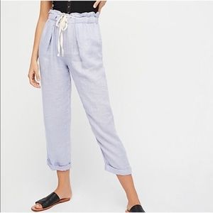 Free People Only Over You Linen Straight Leg Pants